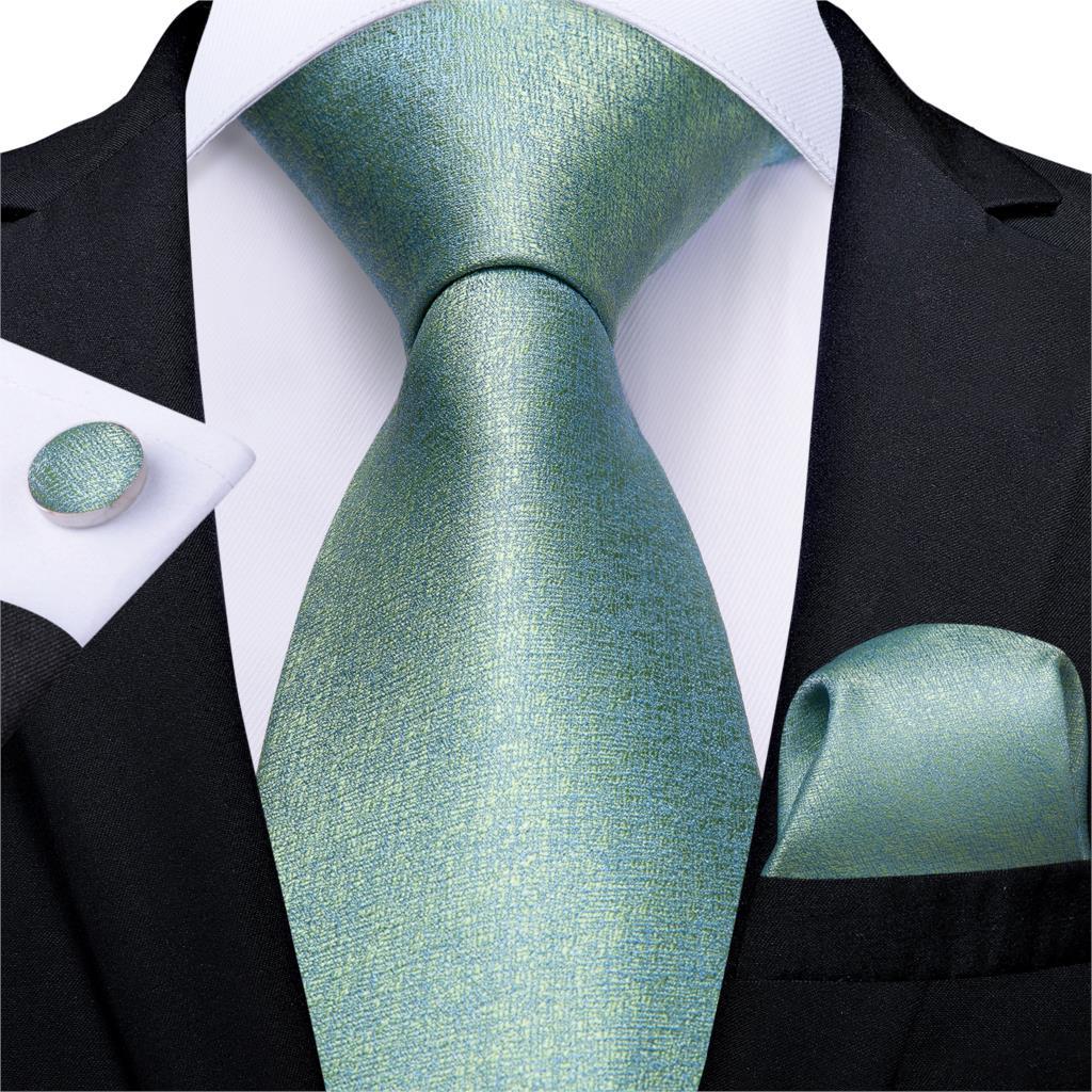 Men Tie Blue Green Novelty Wedding Tie For Men Hanky CufflinkS Silk Men Tie Set Party Business Fashion DiBanGu Designer MJ-7250