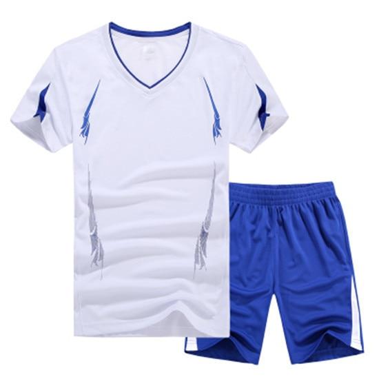 2020 Summer Mens T-shirts Sets V Neck Cool Polyester 2Pcs Shorts Sets Male Tracksuit Quick-drying T-Shirts Men Beach Shorts Sets