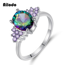 Ailodo Luxury Colorful CZ Rings For Women Girls Fashion Silver Color Engagement Wedding Valentines Day Gift LD286