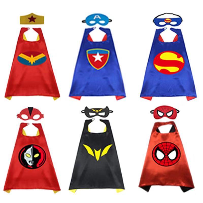 Cosplay Superheroe Capes Mask Superhero Cloak Spiderman Superman Captain America Halloween Gift