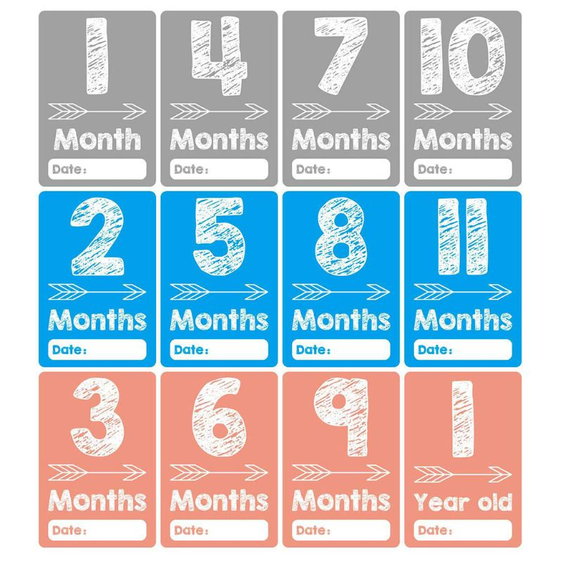 24 Pcs/set Newborn Month Sticker Holiday Card Baby Milestone Photography Props