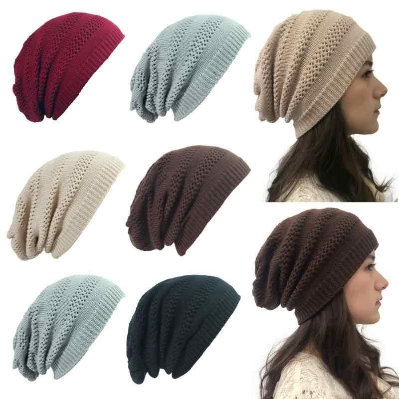 ฤดูใบไม้ร่วงผู้หญิงฤดูหนาวแฟชั่นอบอุ่นถักผ้าขนสัตว์ Slouchy Beanie Skullies หมวกฤดูหนาวผู้หญิงหมวก 2019 ใหม่