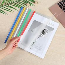 10PCS A4 Size Clear Plastic File Document Folder Sliding Bar Report Covers for Display Organizer Binder Test Paper Mix Color