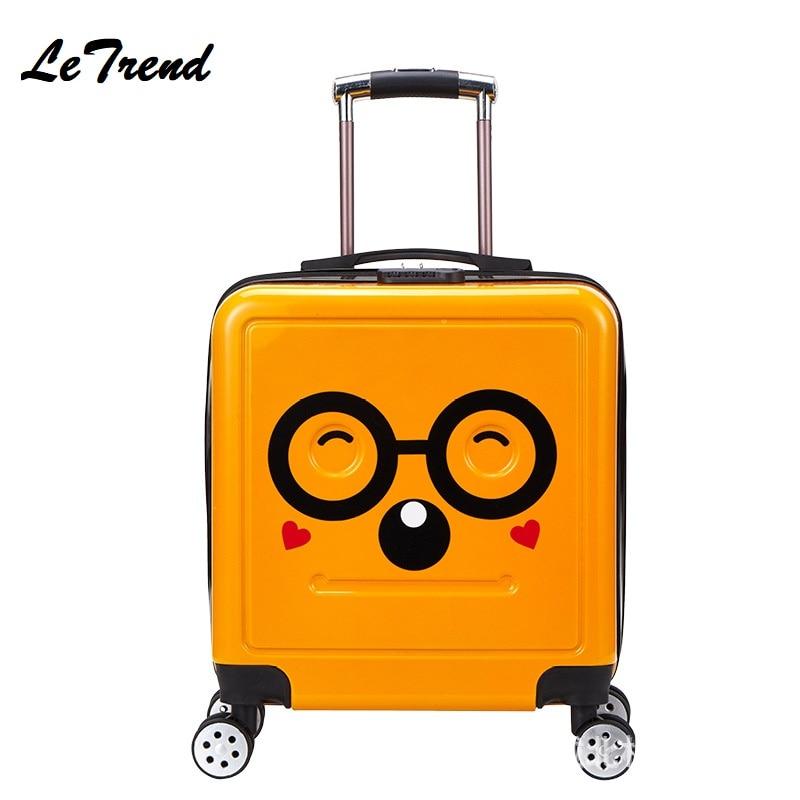 New 3D Cartoon PC Trolley Case Landing Case Mute Universal Wheel Travel Suitcase Rolling Luggage
