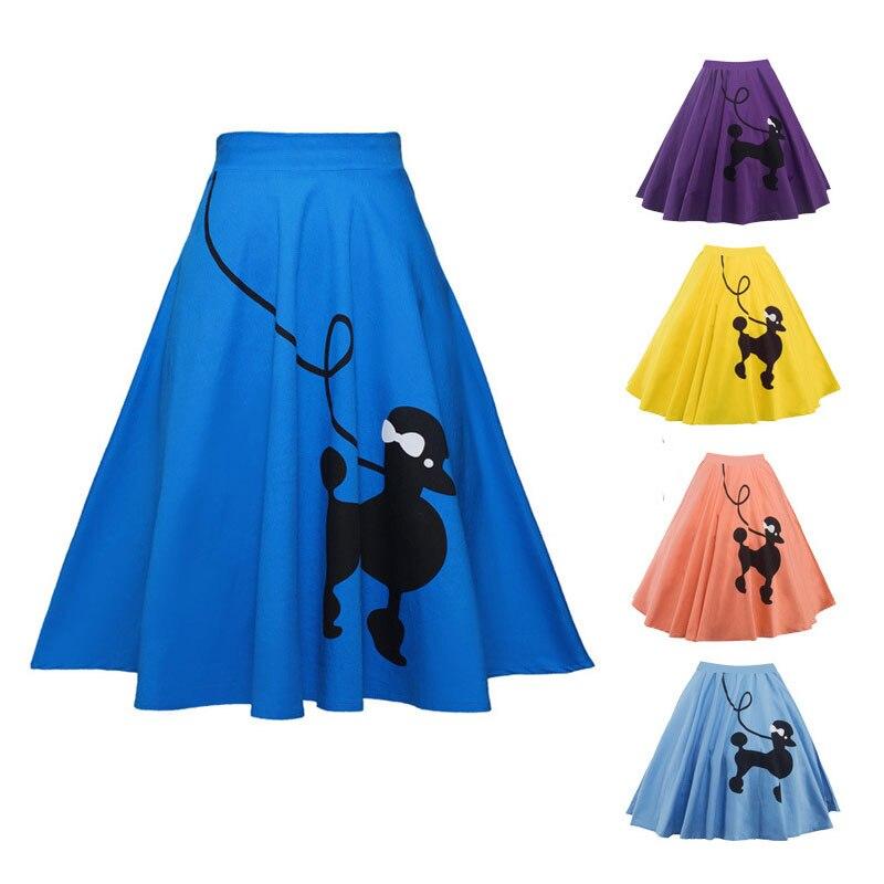 2019 Christmas Pleated Skirt Poodle Print Women Skirt High Waist Christmas Gifts For Women