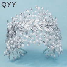 QYY Handmade Leaf Pearl Tiaras and Crowns Bridal Wedding Hair Jewelry for Women Accessories Party Headpiece Bridesmaid Headwear