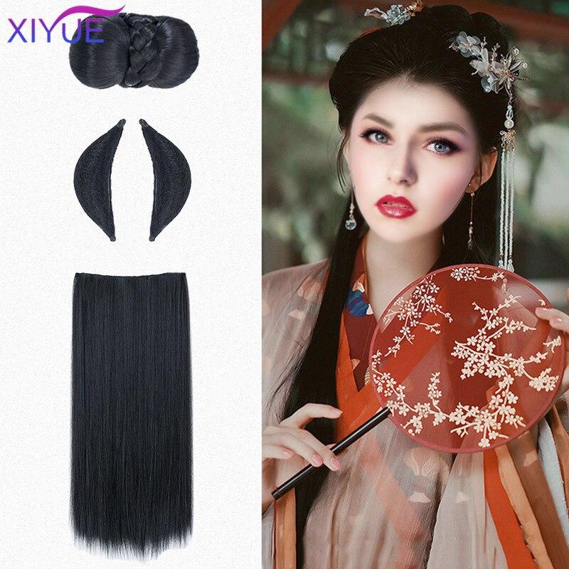 XIYUE китайские традиционные черные волосы в стиле ретро шиньон синтетические искусственные волосы Hanfu подушечки для пучка волос Высокая дре...