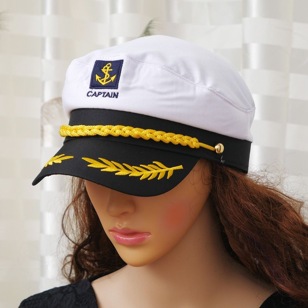 1 Pcs Military Nautical Hat White Captain Hat Navy Cap Marine Skipper Sailor Cap Costume Adult Party Fancy Dress Unisex Hat