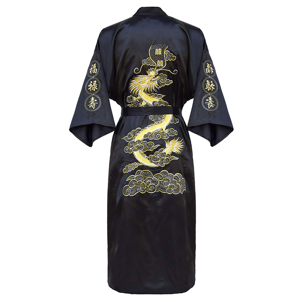 Oversize 3XL Male Sexy Bathrobe Embroidery Dragon Men Intimate Lingerie Casual Loose Lounge Nightgown Kimono Robe Gown Sleepwear