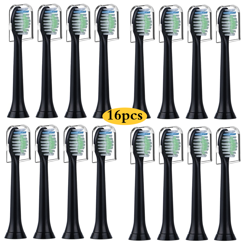 Replacement Toothbrush Heads for Philips Sonicare Diamond Clean, Sonicare ProtectiveClean,with Hygienic Caps,16pcs HX6064, Black image