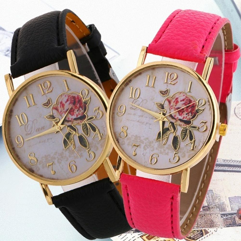Women's Watches Quartz Wristwatches Arabic Number Rose Flower Round Dial Faux Leather Band Quartz Wrist Watch New
