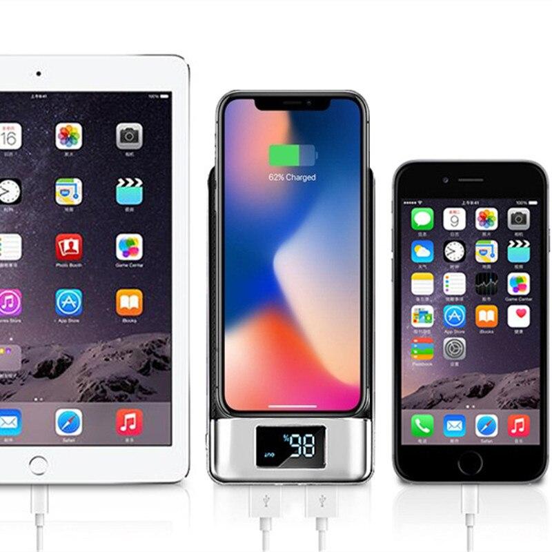 Топ 30000mAh QI Беспроводное зарядное устройство Внешний аккумулятор для iPhone Samsung mi Powerbank Dual USB зарядное устройство беспроводной внешний аккумул...