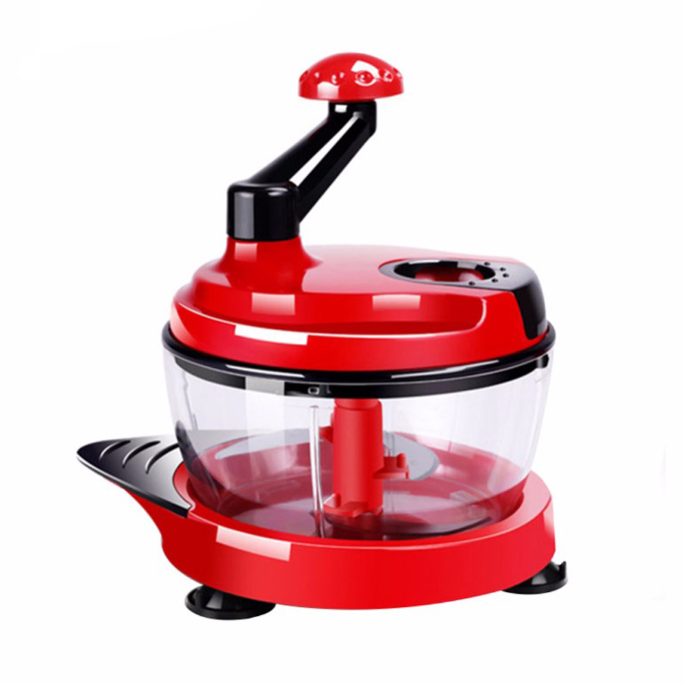 2L Kitchen Manual Food Processor Mixer Egg Blender Meat Grinder Vegetable Chopper Shredder Stainless Steel Blade Cutter