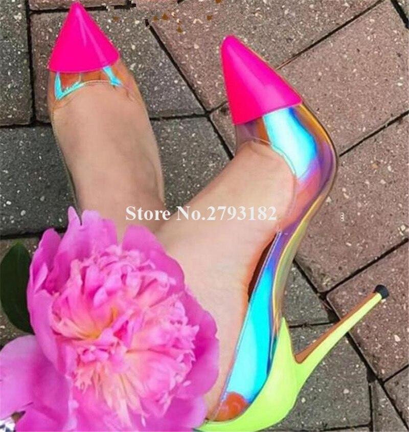 Femmes luxueux bout pointu clair PVC talon aiguille pompes réfléchissantes rose jaune Patchwork Transparent talons hauts grande taille chaussures