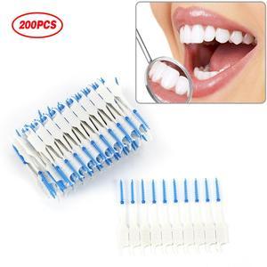200/120/40pcs Dual Clean Dental Floss Head Hygiene Interdental Brush Toothpick Adults Interdental Brush Clean Oral Care