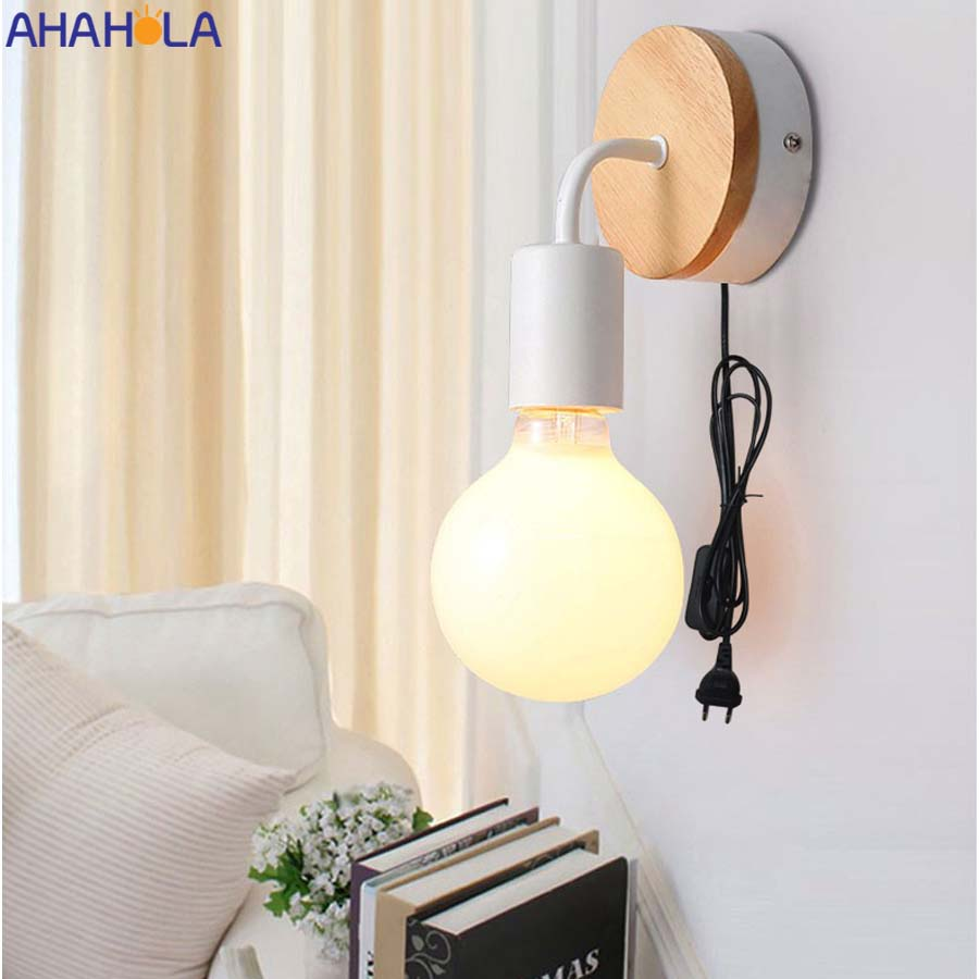 Black White E27 Vintage Wall Light Fixture Iron Painted Retro Industrial Vintage Wall Lamp with Switch Applique Murale