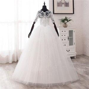Image 2 - Einfache OFF White Süße Hochzeit Kleid Zarte Stickerei Appliques Oansatz Braut Kleid Ballkleid Billig Plus Größe Vestido De Noiva