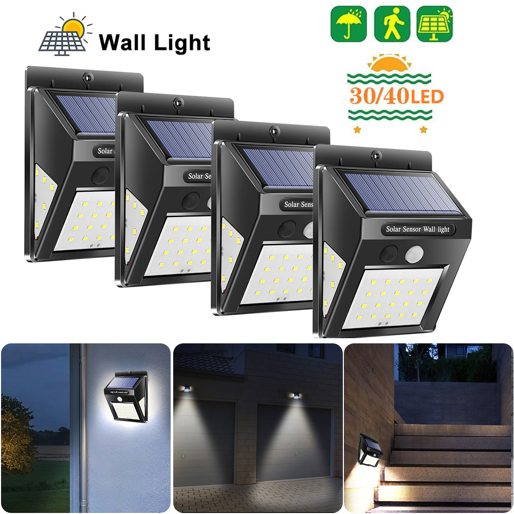 New 30/40 LED Outdoor Solar Light PIR Motion Sensor 4pcs Solar Wall Lamp Waterproof Energy Saving Emergency Garden Yard Lights