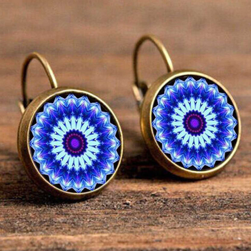 Hc075358bc2004aa78d9c03c1953de0b1F - FSUNION Boho Flower Drop Earrings For Women Vintage Jewelry Geometric Pattern Round Earings Bijoux boucles d'oreilles bohemia