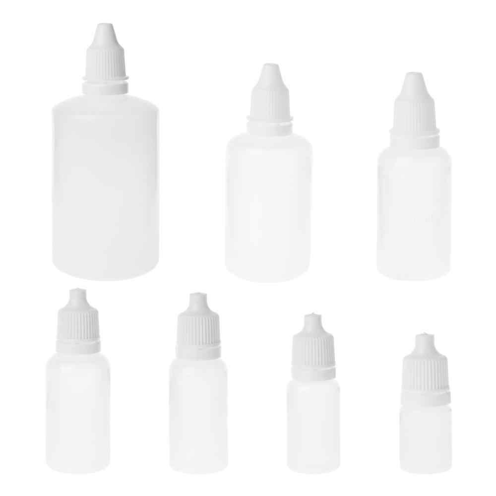 Botellas de gotero compresible de plástico vacío de 5-100 ml, botellas de cuentagotas líquido para ojos, botellas recargables, botellas blancas
