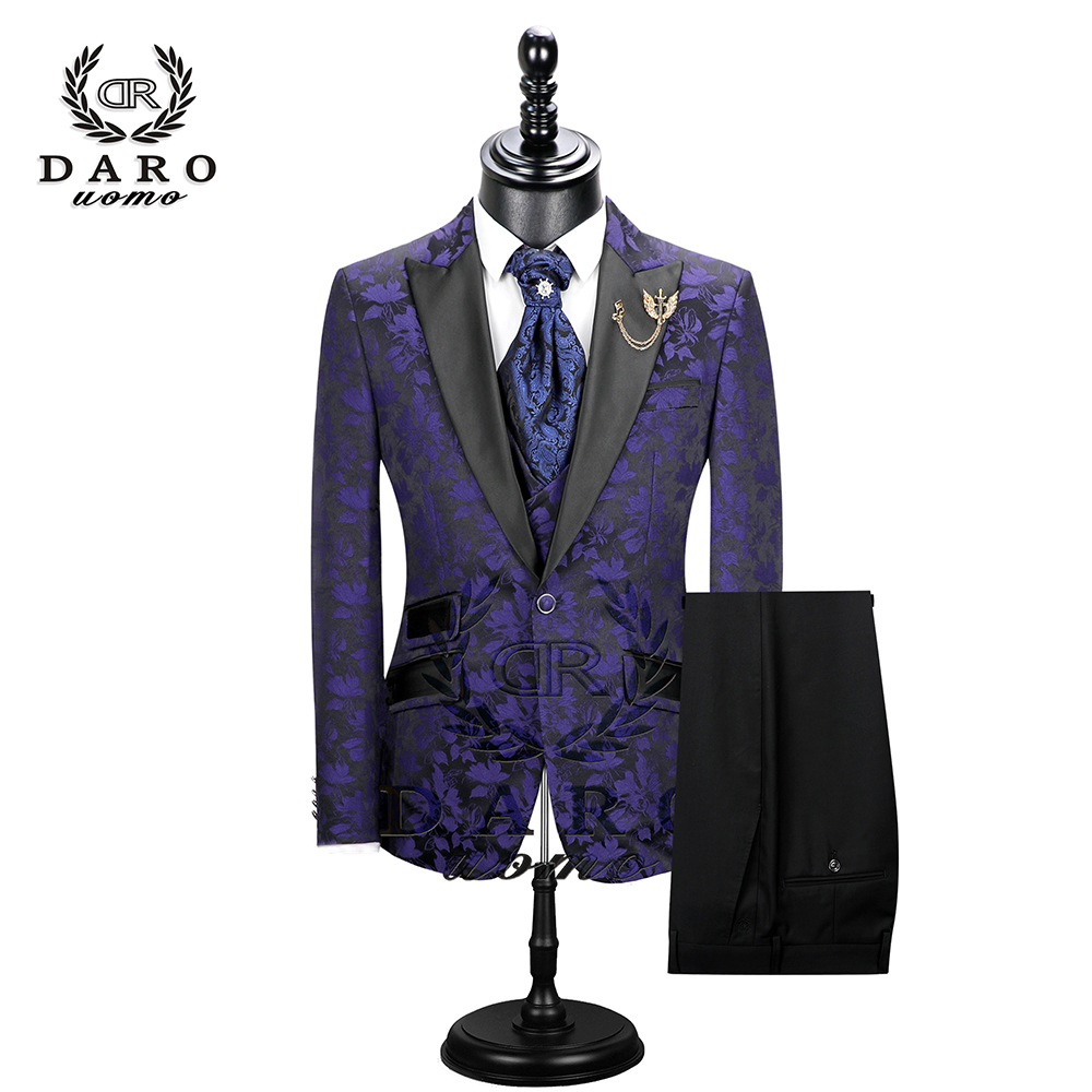 2019 New Men Suit 3 Pieces Tuxedo Slim Fit Red Coffee Blue For Wedding Dress Suits Blazer Pant And Vest DR8228