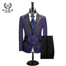 2019 New Men Suit 3 Pieces tuxedo Slim Fit red coffee blue for Wedding Dress Suits Blazer Pant and Vest DR8228(China)