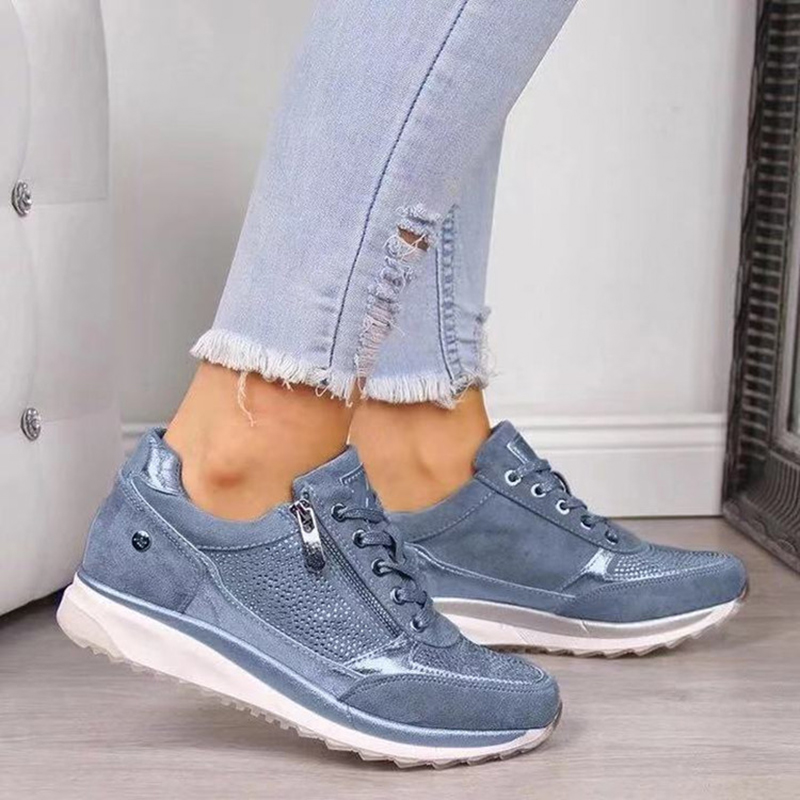 Image 5 - Women Casual Shoes 2020 New Fashion Wedge Flat Shoes Zipper Lace Up Comfortable Ladies Sneakers Female Spring Vulcanized ShoesWomens Vulcanize Shoes   -