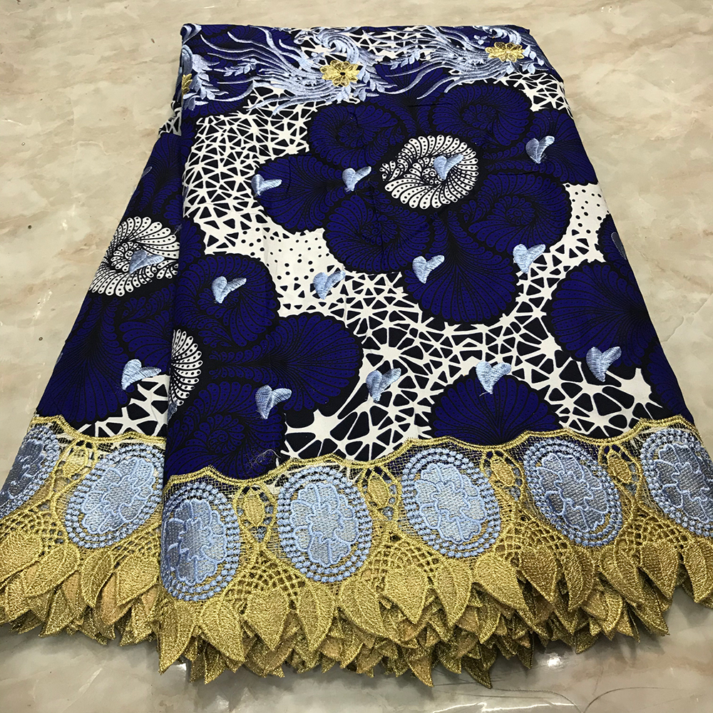 African Ankara Lace Wax Fabrics 6 Yards Cotton Nigerian Netherlands Printed Wax Material With Lace Embroidery For Dress Party