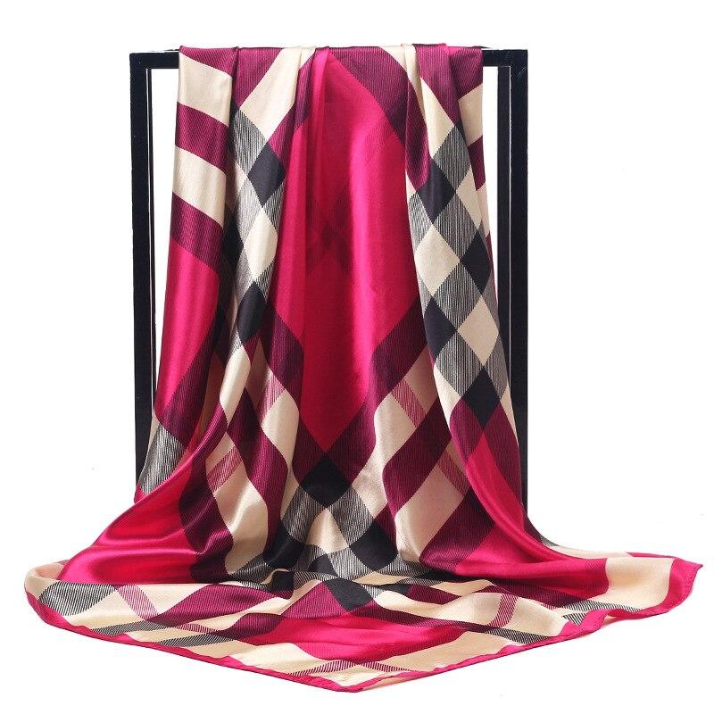 Luxury Brand Silk Scarves Women 90*90cm Square Head Hijab Scarf Ladies Spring Shawl Wrap Muffler Pareo Bandanna Female