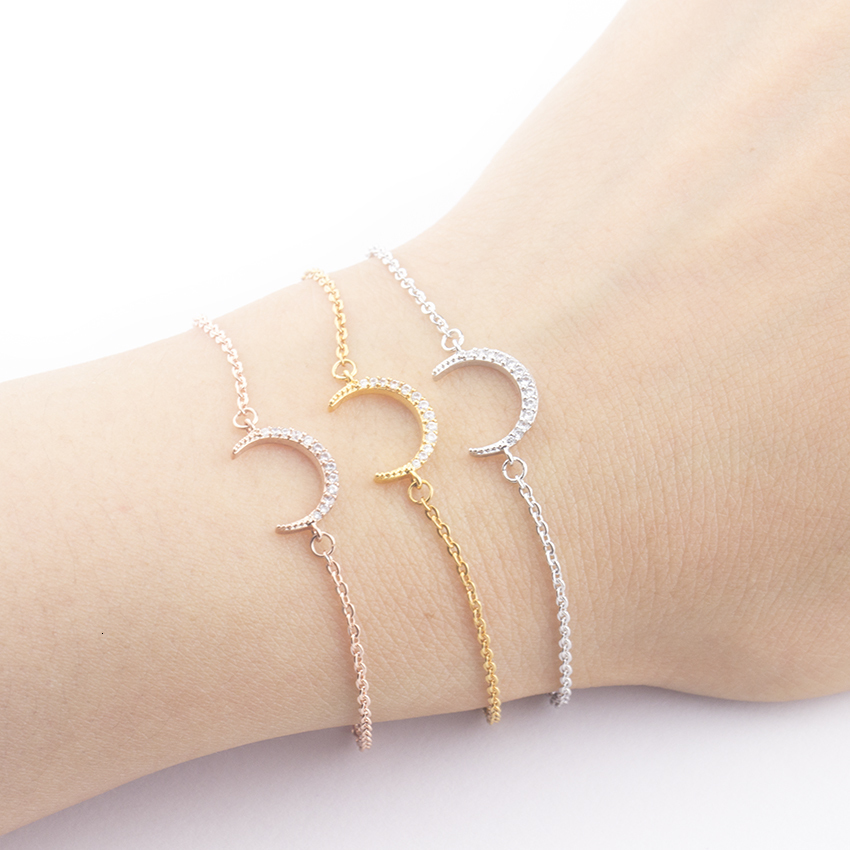 2019 Personality Chain Islamic Moon Bracelet Delicate Rose Gold Golden Moon Bracelet Fine Stainless Steel Jewelry Birthday Gift