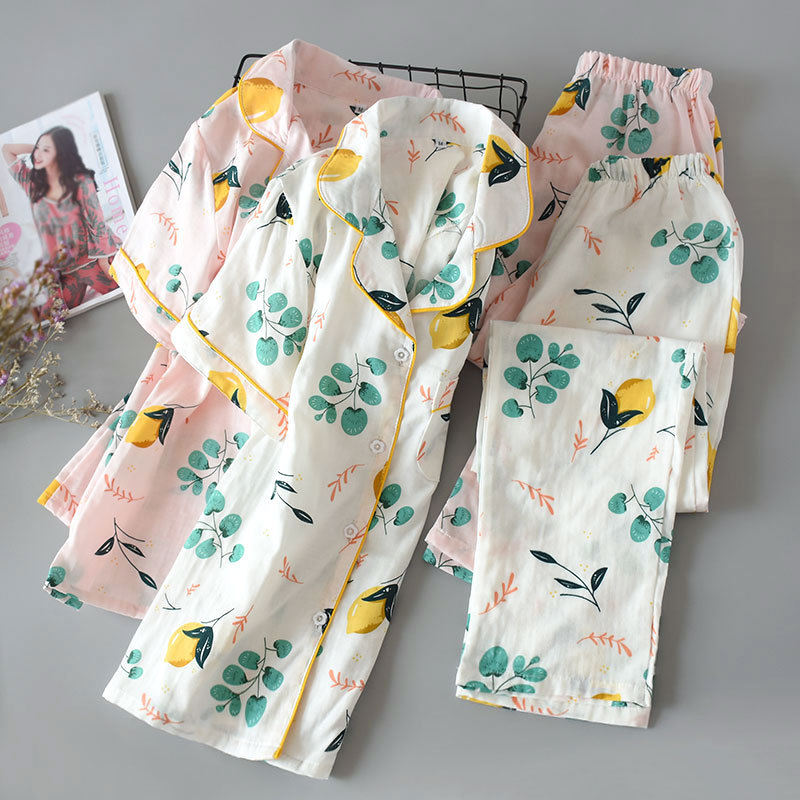 WOMEN'S Pajamas Spring And Summer New Style Lemon Short Sleeve Trousers Pajamas Suit Breathable Gauze Casual Comfortable Home We