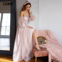 LORIE Long Puffy Sleeve Pink Wedding Dresses 2020 Soft Tulle Elegant Lace Appliques Wedding Gown Boho Bridal Gown Princess Dress