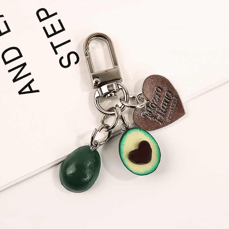 Baru Simulasi Buah Alpukat Berbentuk Hati Headphone Cover Gantungan Kunci Mobil Fashion Gantungan Kunci Perhiasan Hadiah untuk Wanita