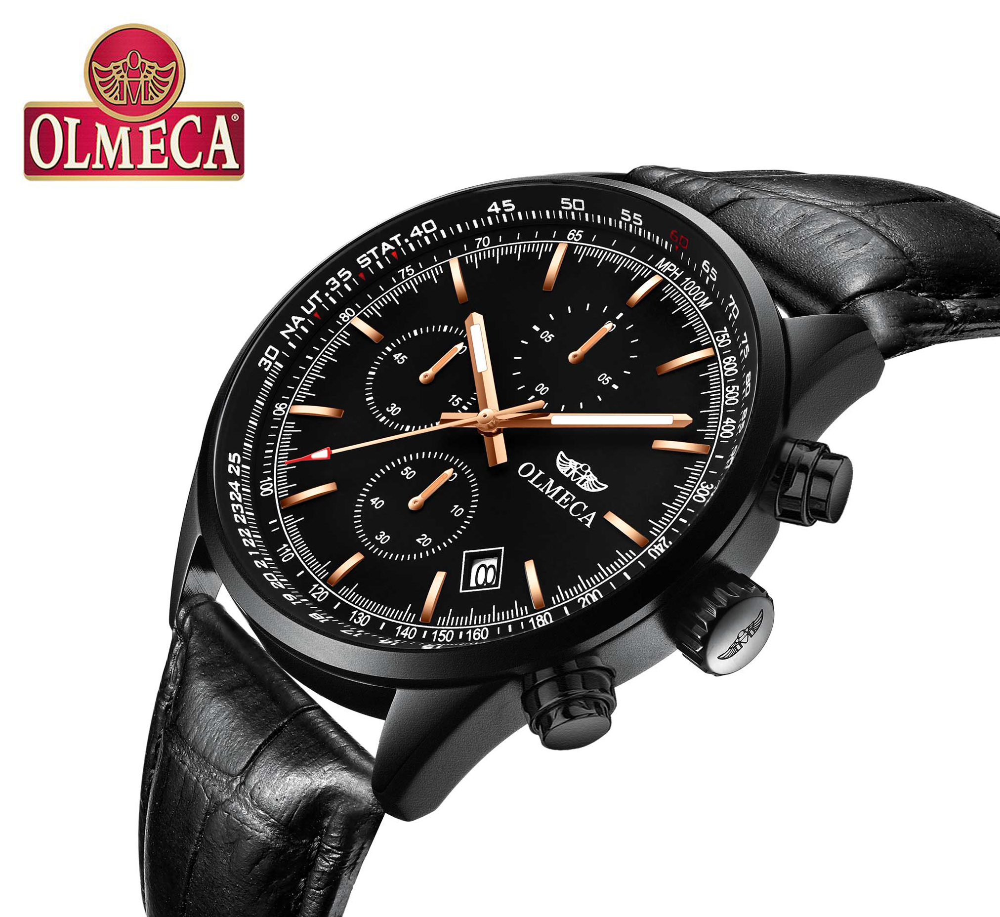 OLMECA Men's Watch Luxury Fashion Casual Dial Stainless Leather Wrist Watches Business Watch luminous function Health Watch