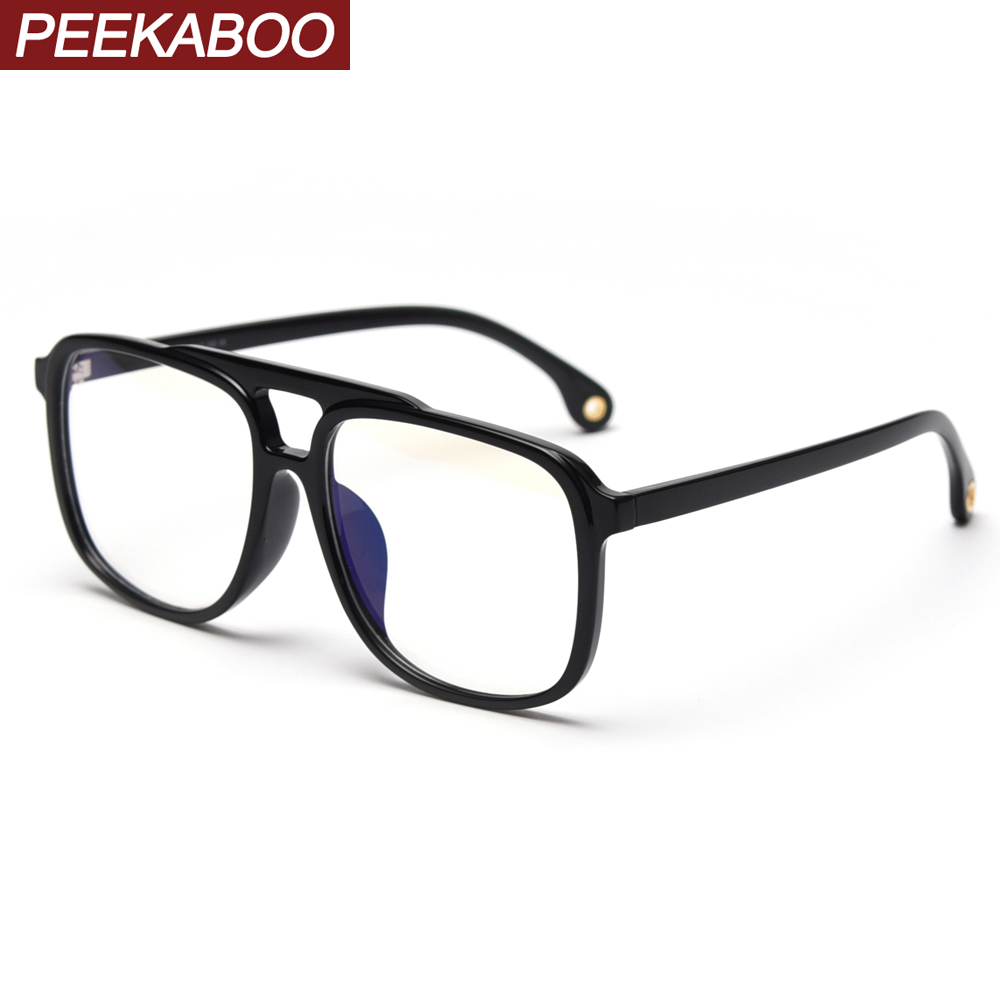 Peekaboo TR90 Big Glasses Anti Blue Light Man Retro Accessories Black Square Eyeglasses For Women Optical Transparent Frame
