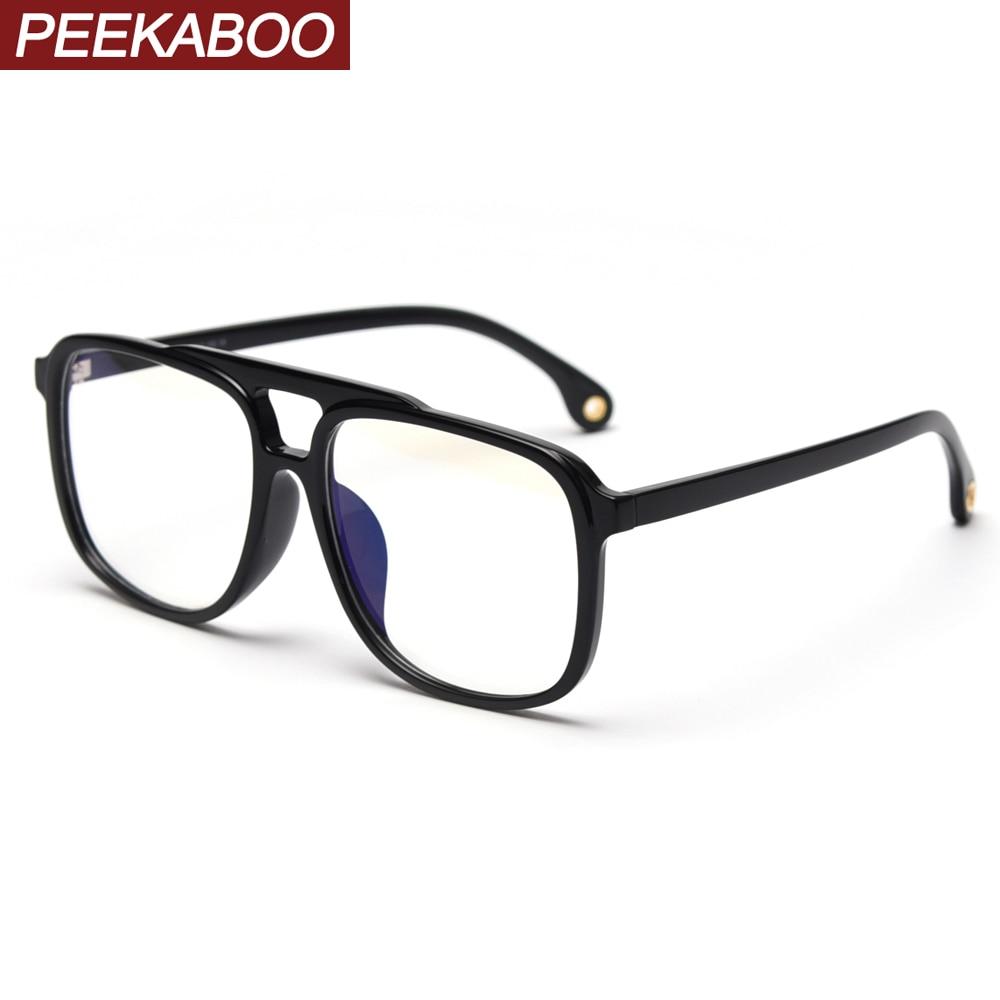Peekaboo TR90 gafas grandes anti azul claro hombre retro Accesorios negro gafas cuadradas para mujeres marco ópticas transparentes