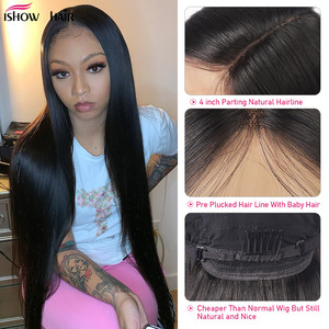 Image 3 - Ishow Lace Front Human Hair Wigs Pre Plucked Straight Lace Front Wig With Baby Hair Peruvian Part Lace Wig Human Hair Wigs