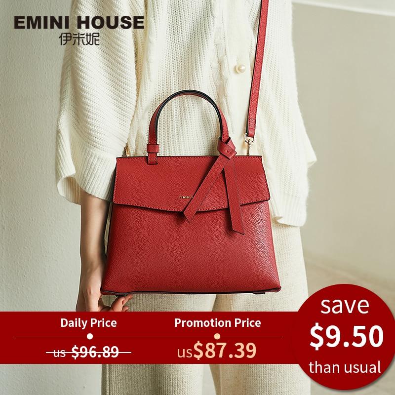 Women Bags Crossbody-Bags Emini-House Grain Designer 2-Sizes for Bow-Tie Litchi Split