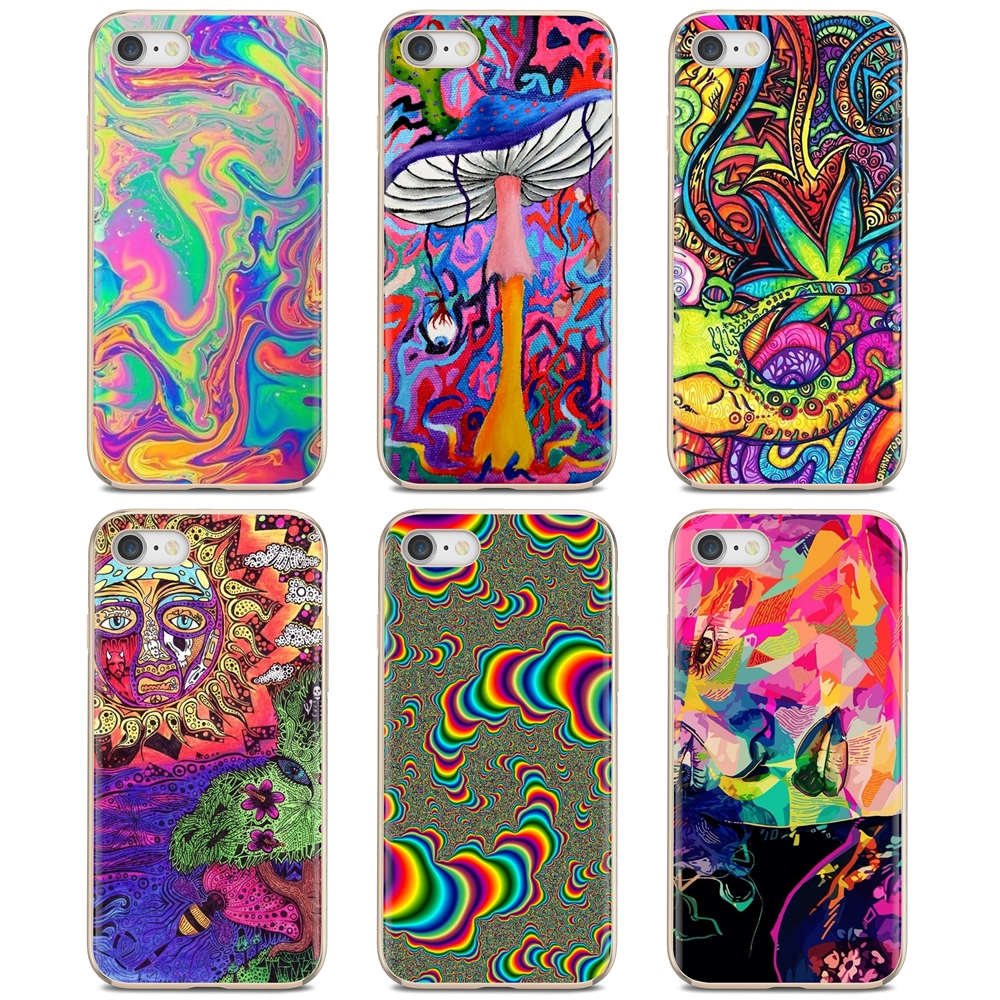 abstract Bright LSD Trippy For iPhone 11 Pro 4 4S 5 5S SE 5C 6 6S 7 8 X 10 XR XS Plus Max For iPod Touch Buy Silicone Phone Case(China)