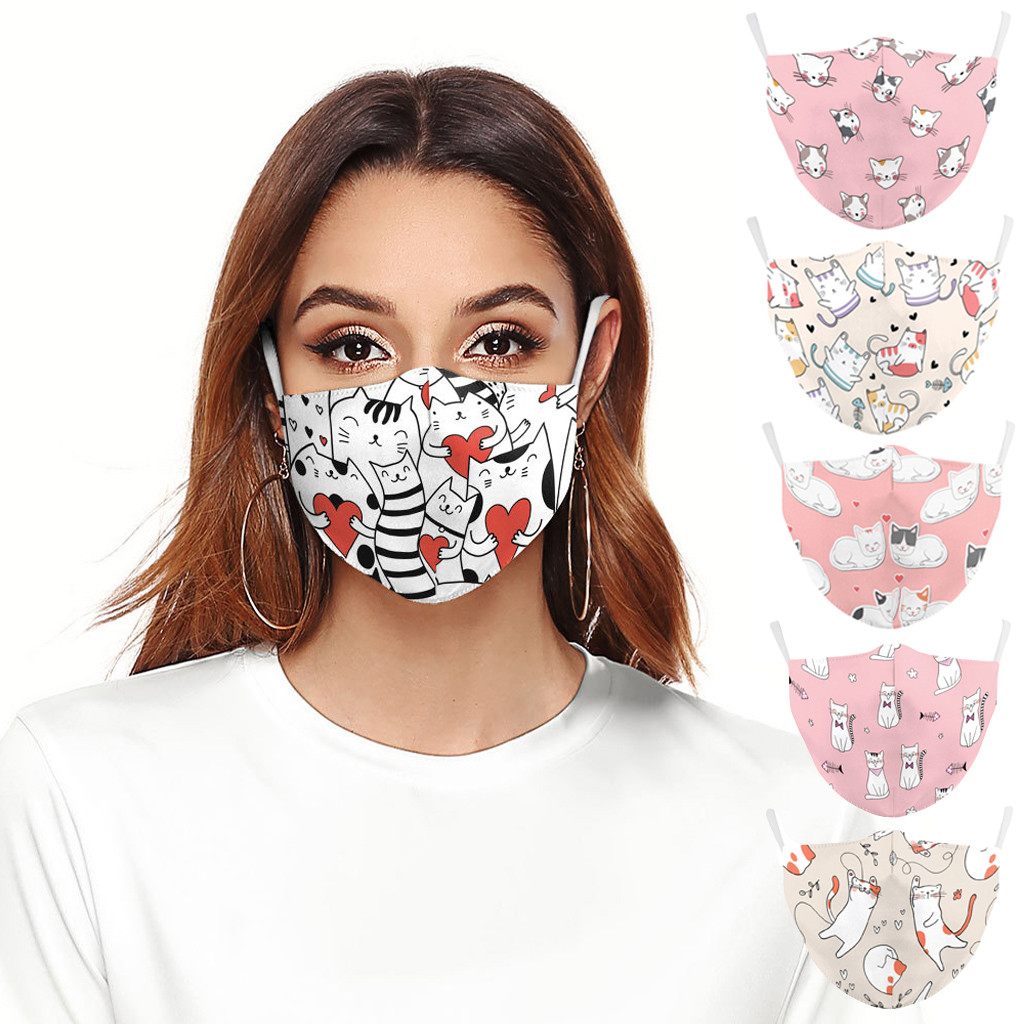 Fashion Cute Cat Printed Mask Washable Dustproof Men And Women Soft Face Mask