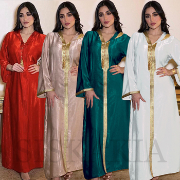 Moroccan Caftan Dubai Hooded Abaya Dress for Women France Velvet Ribbon Long Sleeve Moroccan Turkish Arabic Muslim Clothes Red 2020 New 2