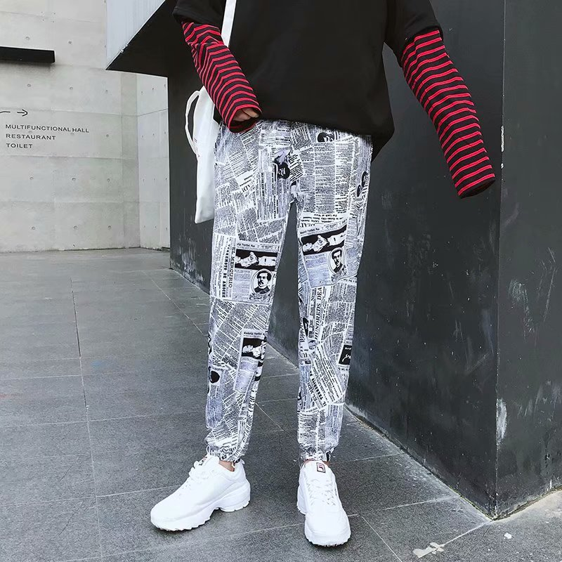 New Style Summer Capri Pants Men's Ankle Banded Pants 9 Pants Cartoon Newspaper-style Pants Country Popular Brand INS Super Fire