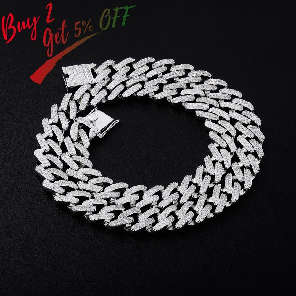 Necklace Jewelry Cuban-Chains Iced-Out Hip-Hop Silver-Color Bling 14mm Men Gold for Paved