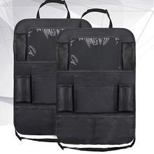 รถ Backseat Organizer Kick Mats ที่นั่งป้องกันกลับกับกระเป๋าเก็บที่ชัดเจนสำหรับของเล่นเด็กขวดเครื่องดื่มยานพาหนะอุปกรณ์เสริม