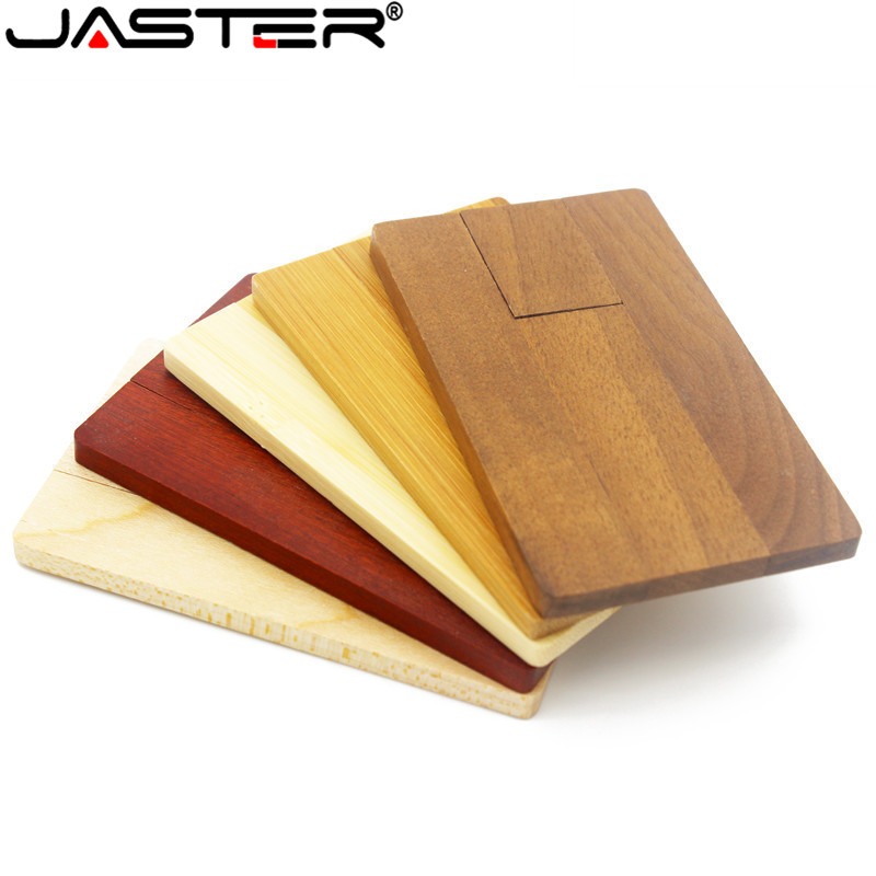 JASTER LOGO Personality Maple Wooden Card USB Flash Drive U Disk Gift Pendrive 4GB 8GB 16GB 32GB 64GB (1 PCS Free LOGO)
