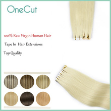 Tape In Virgin Human Hair Extensions Pure Color Natrual Straight Brazilian Hair Strong Adhesive Tape Hair Extensions For Salon