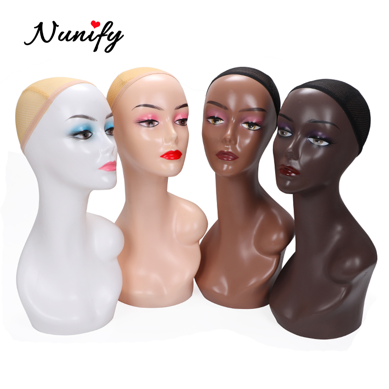 Nunify Beige/Drak Brown Wig Display Mannequin Head Model Head Hair Displayer Training Head For Wig Hat Scarf Mannequin Head image