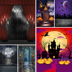 Allenjoy Halloween backdrop photography baby Castle Pumpkin Lantern Forest Moon Tombstone background Photo Studio Photophone