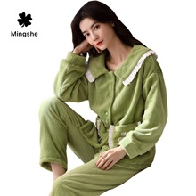 MS autumn and winter warm flannel pajamas set coral thick long-sleeved cartoon girl flannel pajamas home service plus velvet new стоимость