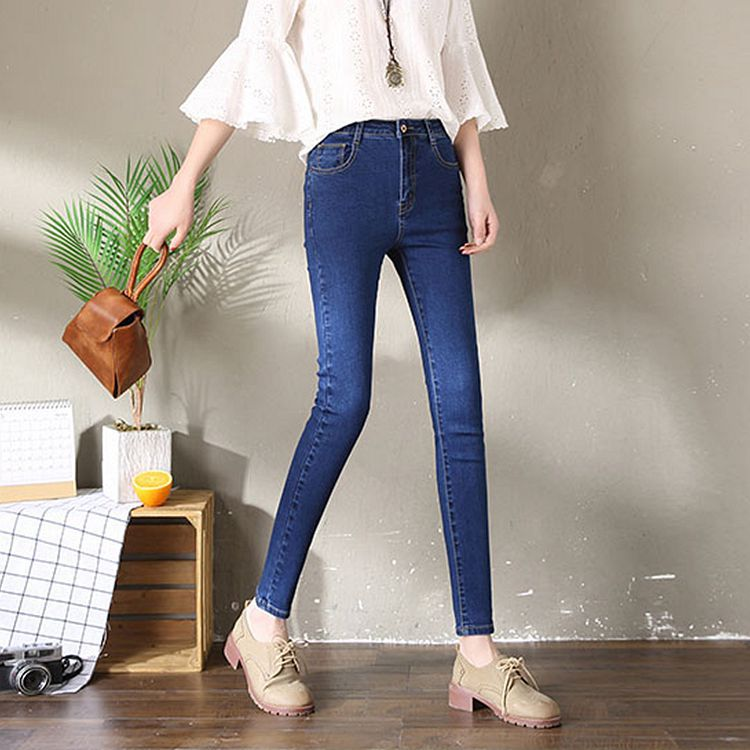 High Quality Photo Shoot 2019 Spring And Autumn New Style High-waisted Skinny Jeans Women's Tight-Fit Elasticity Students Versat
